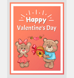 Happy valentines male teddy bear holds hive honey vector