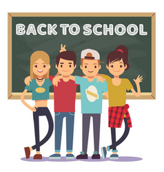high school students and chalkboard - back to vector image vector image