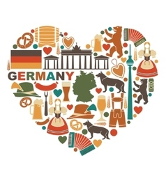 Icons Of Germany in heart shape vector image vector image