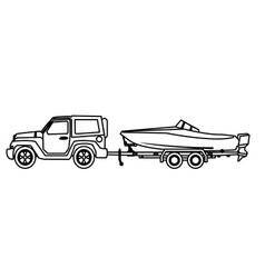Jeep car with boat over trailer vector