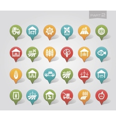 Mapping pins icons Farm part 2 vector image vector image