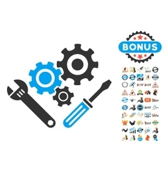 Mechanics tools icon with 2017 year bonus symbols vector