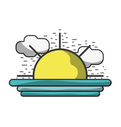 Natural sun with clouds landscape vector