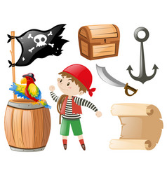 Pirate set with many items and pirate vector