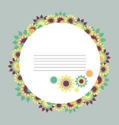 Round abstract floral frame vector