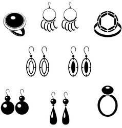 Set of black icons with jewelry vector image vector image