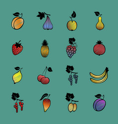Set of fruits and berries hand drawn vector