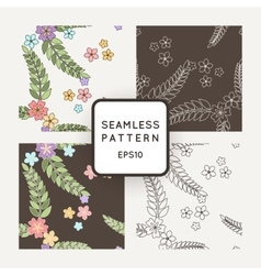Set of seamless patterns with Japanese vector image vector image