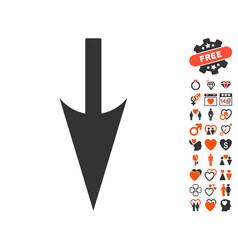 Sharp down arrow icon with dating bonus vector