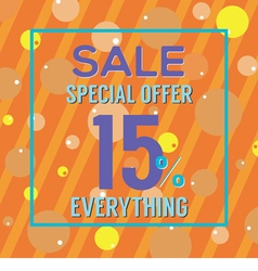 Special offer 15 percent on colorful orange bubble vector