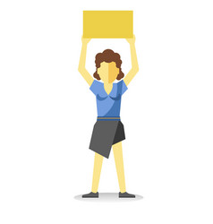 Striking woman holding empty yellow banner above vector