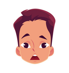 Young man face surprised facial expression vector