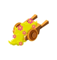 Decorative wooden wheel barrel with flowers vector