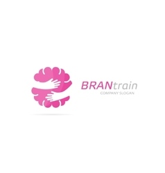 Brain and hands logo combination education vector