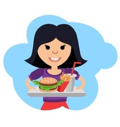 Little girl with fast food in his hands vector image