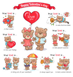 Two teddy bears celebrate happy valentine s day vector