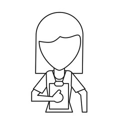 medical staff female clipboard health thin line vector image