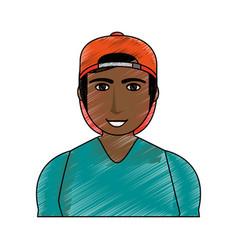 Color pencil cartoon half body brunette man with vector