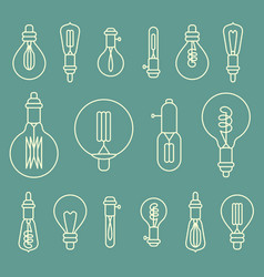 set of retro stylized linear electric bulbs vector image