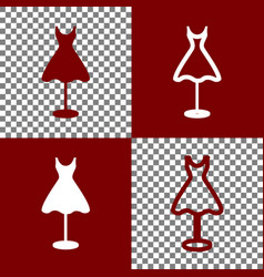 Mannequin with dress sign  bordo and white vector