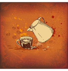 Vintage background with coffee pot vector