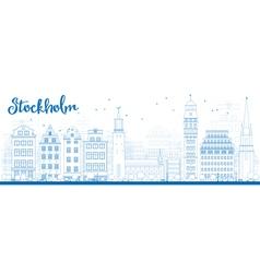 Outline Stockholm Skyline with Blue Buildings vector image