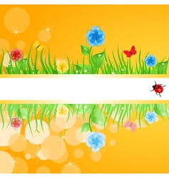 Green grass with flowers a vector