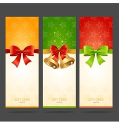 Present xmas card with bow and bell set vector