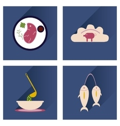 Modern flat icons shadow ukrainian cuisine vector