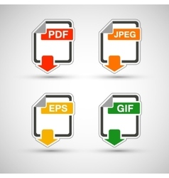 File format flat icon set vector