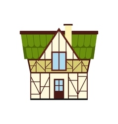Half timbered house in germany icon flat style vector