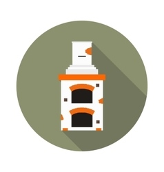 Flat icon fireplace brick oven vector