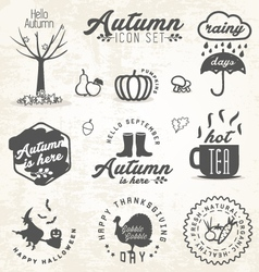 Autumn and badges set vector