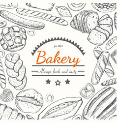 background with various bakery products vector image