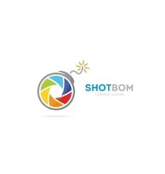 Camera shutter and bomb logo combination vector