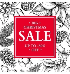 Christmas sale banner hand drawn holiday vector