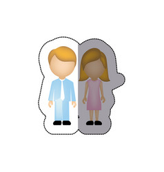 Color couple with blond hair icon vector