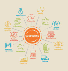 consulting concept with icons vector image vector image