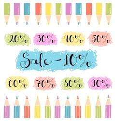 Discounts design for the sale of school stationery vector image
