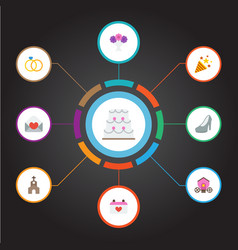 Flat icons calendar posy sparkler and other vector
