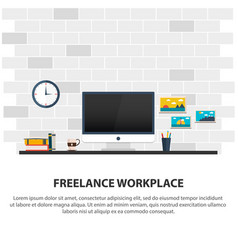 freelance workplace minimalist workplace vector image