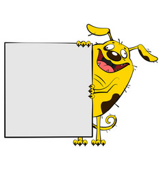 fun yellow dog show blank white sheet of paper vector image vector image