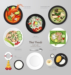 Infographic Thai foods business flat lay idea hips vector image vector image