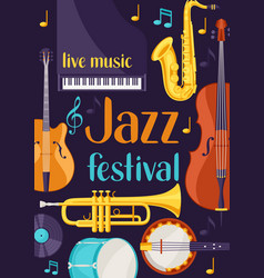 Jazz festival live music retro poster with musical vector