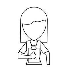 Medical staff female clipboard health thin line vector