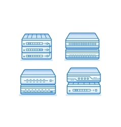 Network router icon set vector image