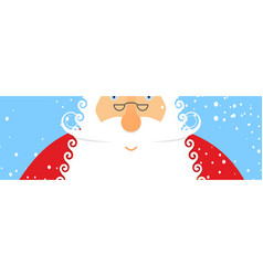 santa claus and snow portrait of grandfather vector image