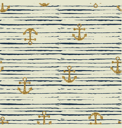 Seamless pattern of anchor and stripes vector