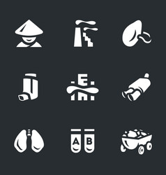 Set of air pollution in china icons vector