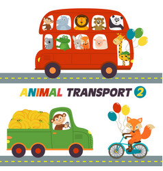 set of isolated transports with animals part 2 vector image vector image
